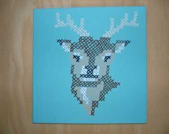 Painted Cross Stitch Deer