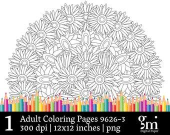 Adult Coloring Pages, Printable Coloring Pages, Mandala Art, Mandala Digital, Mandala Digital Clip Art, Mandala Clipart, Instant Download