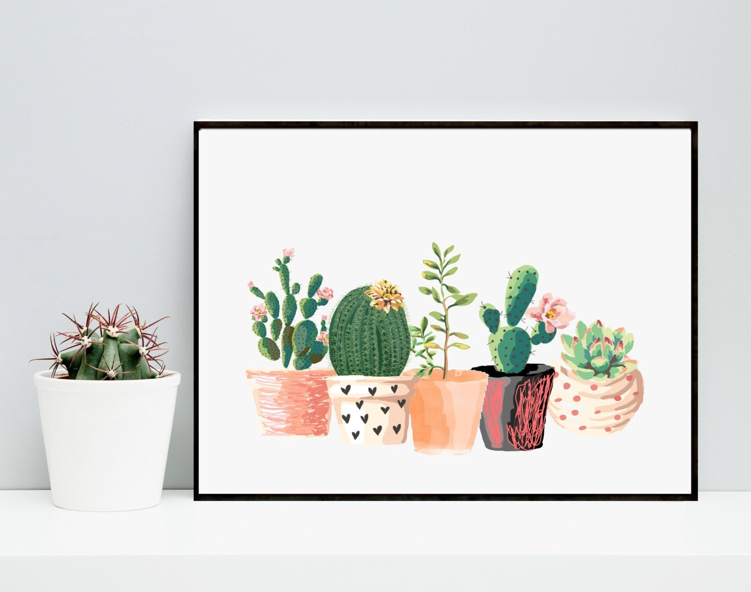 cactus print printable art cactus art home decor potted. Black Bedroom Furniture Sets. Home Design Ideas