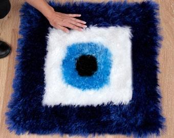 Crochet Evil Eye Square Mat - MAT005
