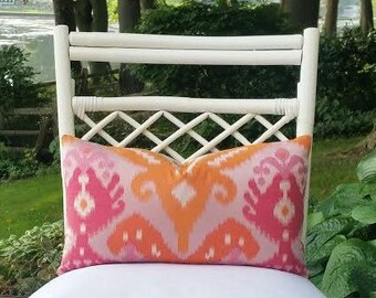Pink Orange Ikat Pillow Cover - ikat, global - pink, hot pink, orange