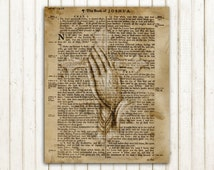 Praying hands on an old Bible page digital art print digital download religious art