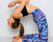 GANGES - Women's active/yoga/gym blue & purple printed leggings, high waisted, thick elastic band