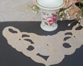 Vintage Cotton Applique Lace Piece   ~  Pastel Apricot Embroidered Floral and Leaf Design
