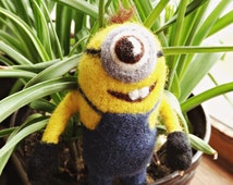 One-Eyed MINION, Needle Felted, collectible figure, Despicable Me