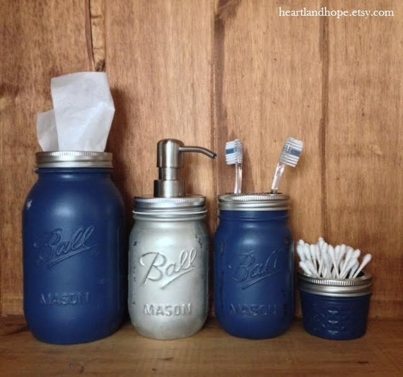 Items similar to dallas cowboys mason jar bathroom for Blue and silver bathroom sets