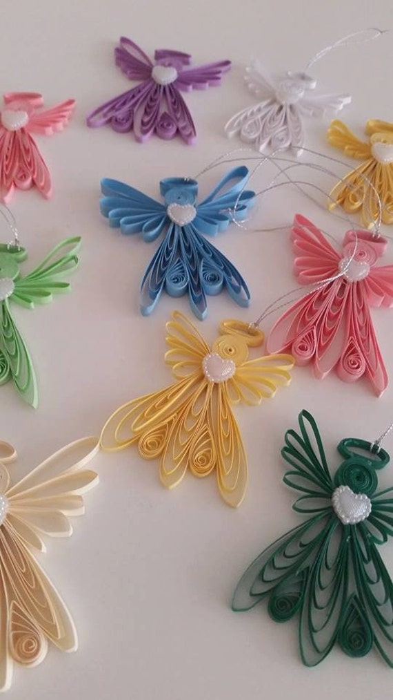 Quilling angel quilling art ornament quilled paper angel for Angel tree decoration template