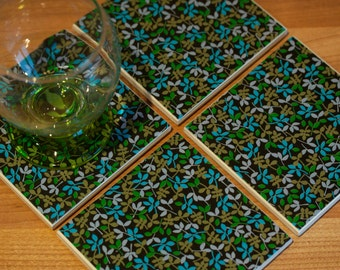 Ceramic coasters – black ceramic tiles with blue, green and gold floral print tile coasters – set of 4