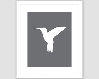 Hummingbird Print, Dark Slate Gray and White, Bird Wall Art, Modern Art, Instant Download, DIY, Printable