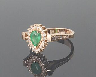 Emerald ring, Anniversary ring, Gemstone ring, Gold emerald ring, May birthstone, 14k emerald ring, Birthstone ring, Woman ring gold