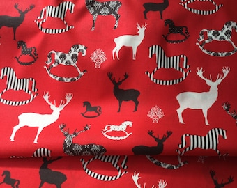 Christmas Fabric with Reindeers and Rocking Horses
