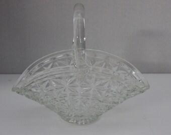 "Vintage Large Clear Glass ""Star & Square"" Pattern Basket"
