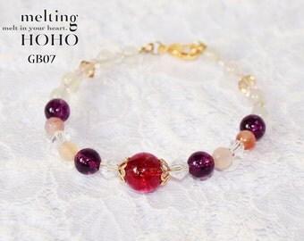 Violet with Pink Crystal Beaded Gold Bracelet
