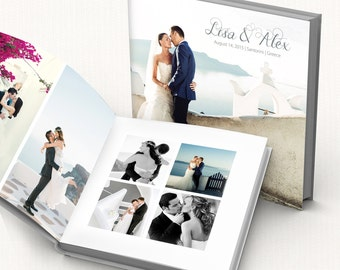 Wedding Album digital template. Fully editable modern wedding photo book. Layered Photoshop PSD files, 12x12 in, 24 pages.