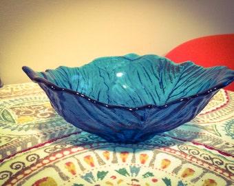 Vintage 1960's Cobalt Blue Colored Glass Cabbage Leaf Design Bowl