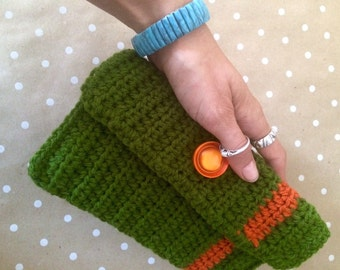 Crochet Clutch - Moss Green and Rust Orange Granny Chic