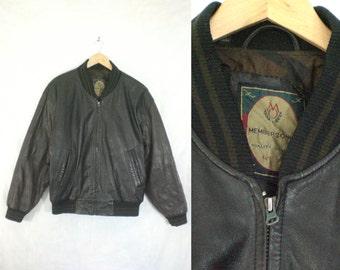 40%offAug18-21 mens leather coat size large, memebers only bomber jacket, 1980s mens leather jacket, black brown 80s biker jacket
