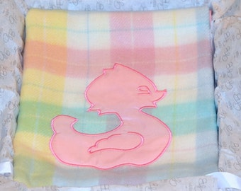 Galante Baby Plaid Blanket with Pink Duck