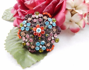 Vintage Colorful Tiered Flower Brooch Pin Pendant