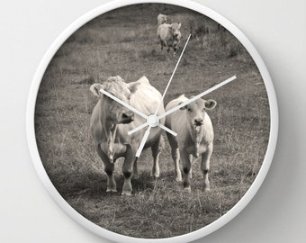 White Cows,Photo Wall Clock,Baby Animal,Modern WallClock,Retro Clock,Home Decor,Round Clock,Animal Clock,Home Accessories,Interior Design