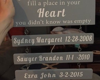 Grandchildren fill a place in your heart you didn't know was empty sign 12x5