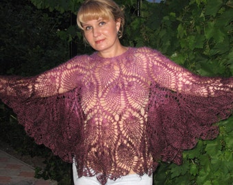 Downy openwork poncho. Poncho made of goat down. Purple poncho. Hand knitted poncho.