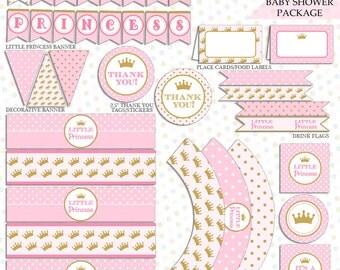 princess baby shower decoration instant download princess baby shower little princess baby