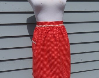 Very Cute Vintage Apron Red with White Polka Dots Great Condition!!