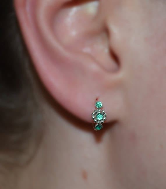 2mm emerald nose ring silver nose ring hoop conch