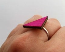 Wooden ring|triangle ring|geometric jewellery|colour pop|adjustable ring|fashion jewellery|costume jewelry|gift for teen girl|party favour