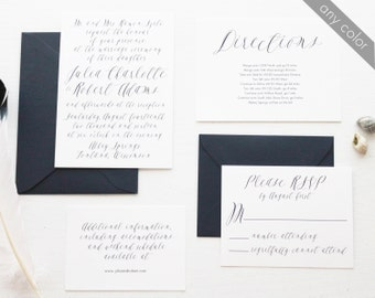 Elegant Calligraphy Wedding Invitation Suite in Navy