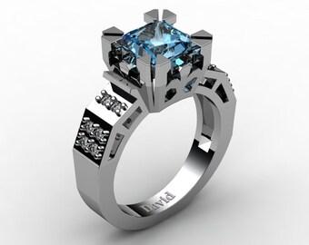 Modern Vintage 14K White Gold 2.0 Carat Princess Blue Topaz Diamond Solitaire Ring R1023-14KWGDBT