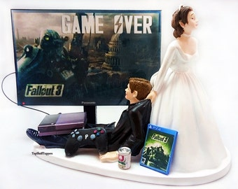 Game Over Fallout Wedding Cake Topper Video Gamer Bride and Groom Xbox One/PS4/PC