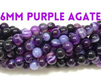 6mm Natural Purple Striped Agate Gemstone Strand (63 beads)