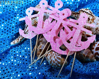 Pink Glitter Nautical Theme Anchor Çupcake Toppers- Customize Colors! Nautical Baby Shower, Nautical Birthday Party!