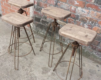 Industrial Hair pin leg stool. Adjustable height steel & reclaimed wood chic chair , rusty hairpin metal finish bar stool cafe restaurant