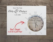 150 x Clock save the date invites with detachable round magnets and envelopes custom order for Samantha