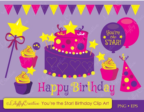 You Re The Star Birthday Clip Art Pink Amp Purple