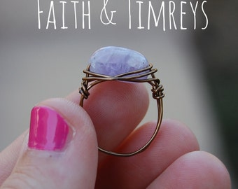 Amethyst Ring, Wire Wrapped Bronze Ring, Wire Wrapped Jewelry, Christian Jewelry, Boho Jewelry, Bohemian, Faith, Wire Wrapped, Boho Ring,