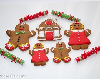 Christmas Gingerbread Family handmade decorated cookies biscuits