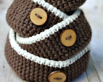 Crochet Pattern Nesting Bowls THE RUMNEY four rustic containers