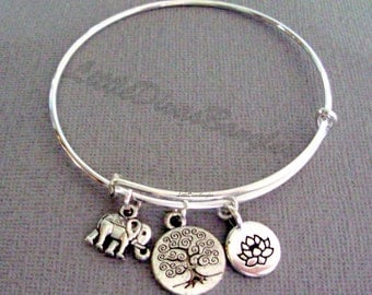 Elephant / TREE OF LIFE /  Lotus Flower Charm -  Mediation Charm Bangles / Gift For Her / Silver Infinity Accent / Under Twenty / Usa TR1