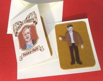 Jeremy Corbyn Fuzzy Felt Card, Labour, Socialist