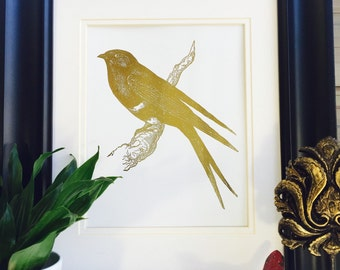 Gold Birds, Bird Print, Gold Foil Print Office Wall Art, Bird on Branch