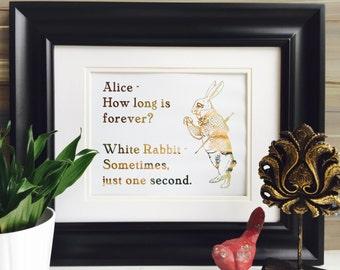 White Rabbit Alice in Wonderland Decor Gold Foil Art, Real Gold Foil Print