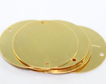 2/10 Pcs 26 Gauge 25 mm Gold Plated Brass Coins,  Disc pendant, Shiny Gold plated brass, Coin disc pendant with two holes