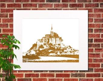 Mont St Michel Abstract City Art France Poster Mont Saint Michel Poster 5311