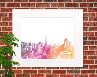 New York Skyline Print Abstract City Art Print New York City Home Decor Print New York Abstract Poster 5314