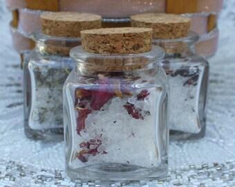 12 Bath Salt Square Jars for Wedding Favors - Tea Pary Favors - Bridal Shower or Baby Shower Favors