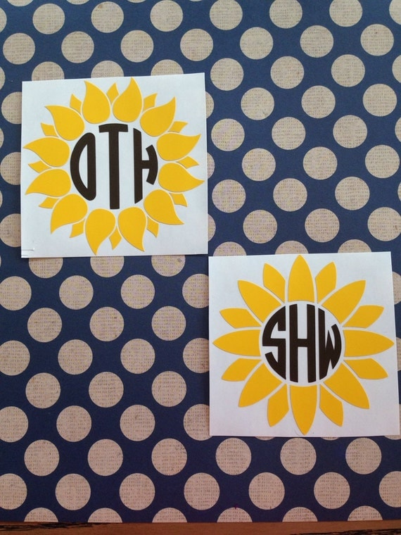Sunflower Monogram Decal Empress Font By Mmvinylcreations